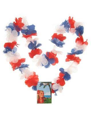Hawaii Blüten rot - weiß - blau Halskette Kranz 12 Stück