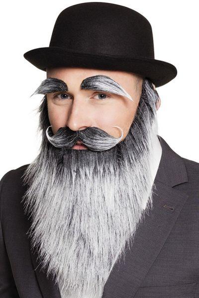 Grauen Bart mit Schnurrbart und Augenbrauen