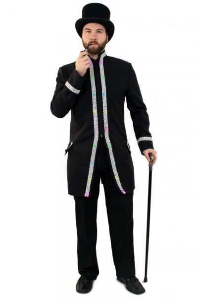 LED Jacke für Herren Faschingsjacke mit Silberborte