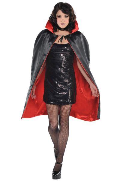 Halloween Horror Cape rot schwarz umkehrbar