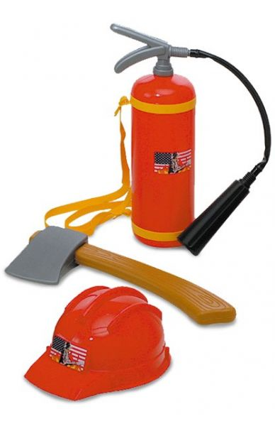 Fire department equipment with fire extinguisher - helmet and ax