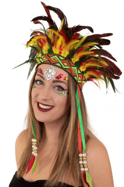 Indianer Tanz Federschmuck Fasching
