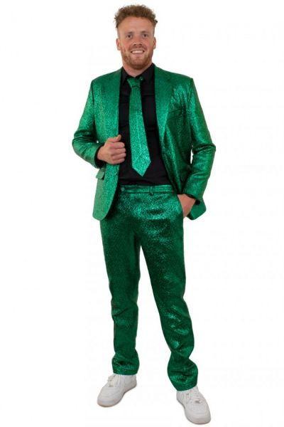 Blitzgrünes Metallic-Disco-Kostüm