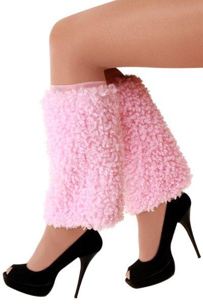 Beinlinge Plüsch lockig rosa