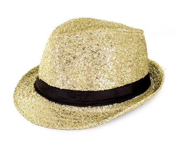 Disco Gangster Hut Glitzer Gold