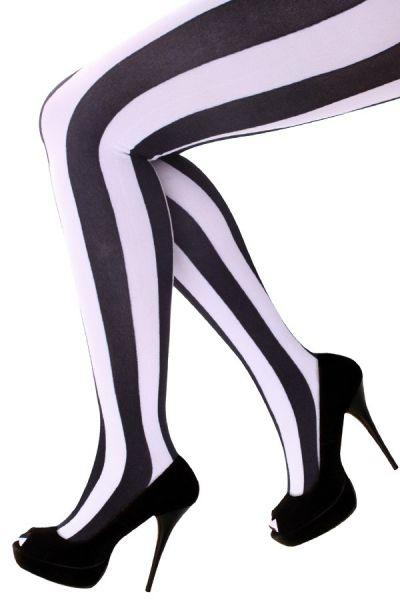 Strumpfhosen vertikale Streifen schwarz und weiß