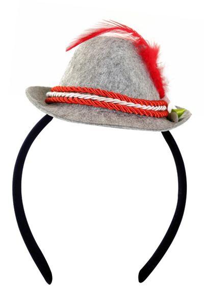 Oktoberfest Tiroler mini Hut rot auf Diadem