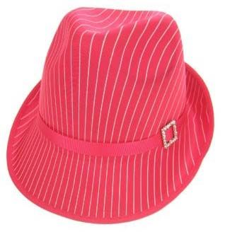 Gangster Hut pink mit weißem Streifen