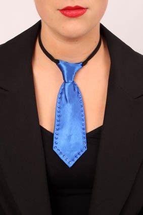 Mini Krawatte blau mit Strass Steinen