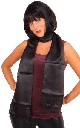 Schal aus schwarzem Satin 180cm