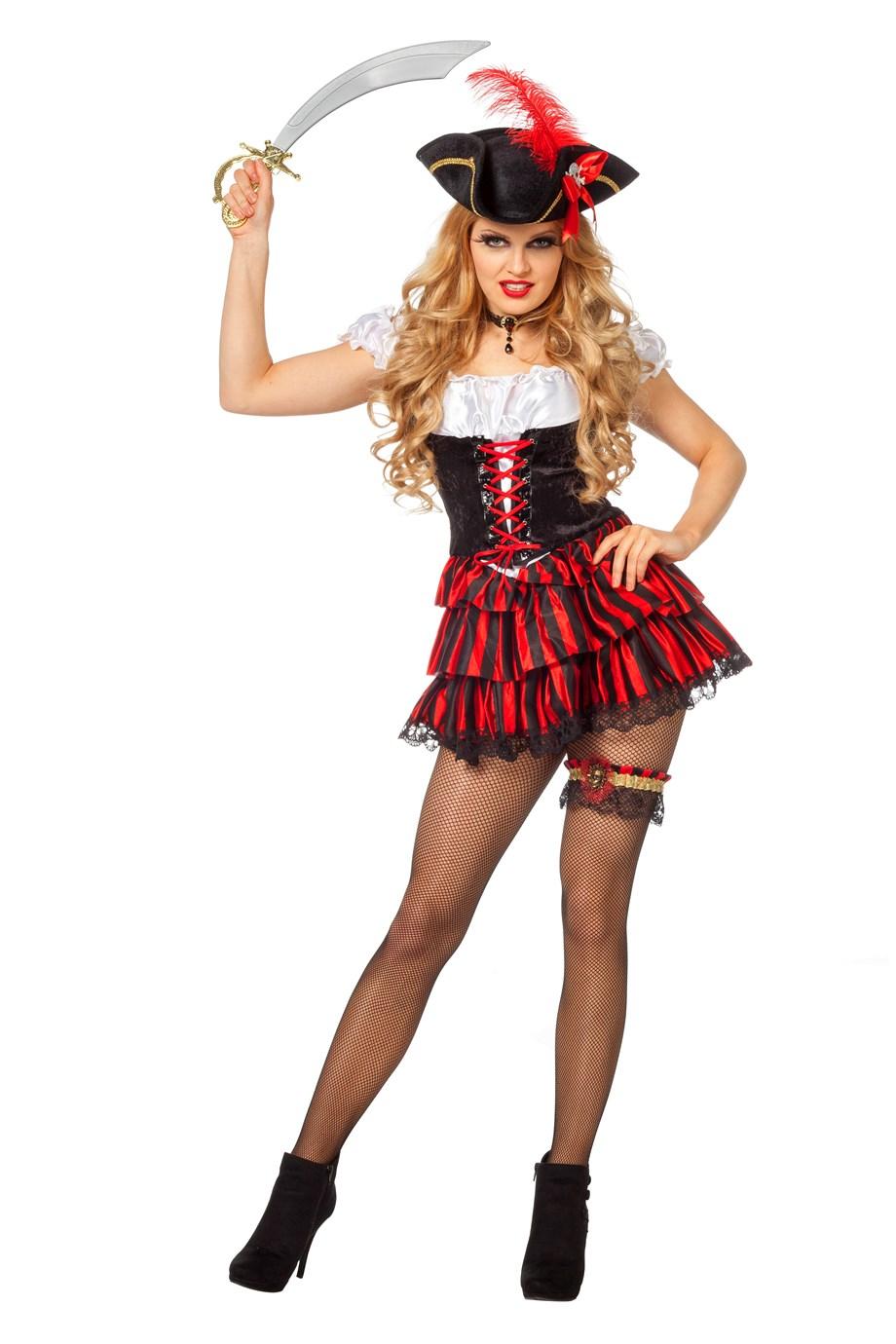 faschingskost m sexy piratin schwarz mit roten kost me f r fasching karneval und mottopartys. Black Bedroom Furniture Sets. Home Design Ideas