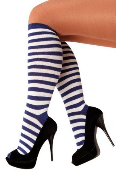 Socken blau weiß gestreift