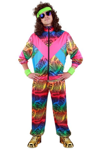 Trainingsanzug Animal Print 80er Unisex Kostüm Trash Assi Pumper Proll Bad Taste grell Neon Achtziger Jahre Retro