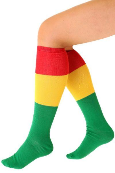 Socken rot gelb grün gestreift