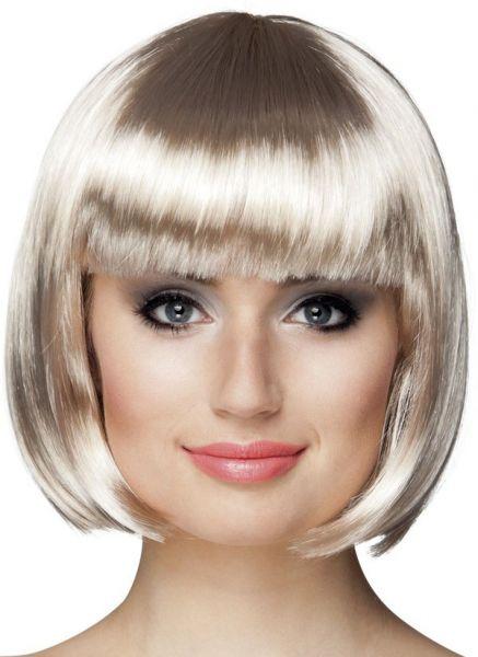 Damen Platinum Blonde Perücke Bobline