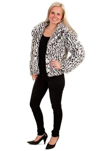 Damen Pelz-Mantel dalmatinischer Druck