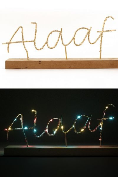 Regal mit beleuchtetem Text ALAAF