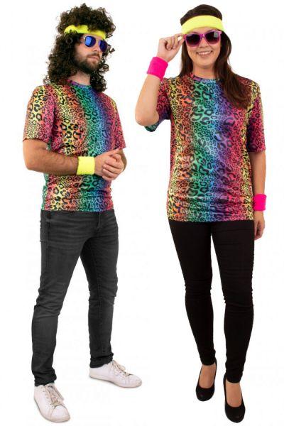 Hippie Neon T-Shirt mit Leopard muster