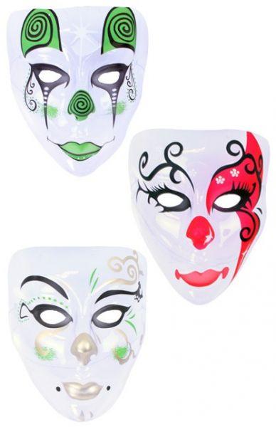 Maske Pierrot farbig transparent