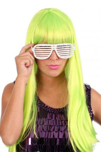 Damen-Perücke trendy lange grün fluor Haar