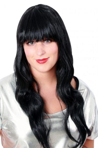 Perücke lange glatte Haare Damen Perücke schwarz Sensation