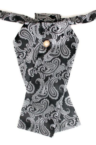 Stock Krawatte Brokat Stoff dunkelgraues Silber Jabot