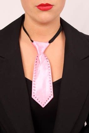 Mini rosa Krawatte mit Strass Steinen