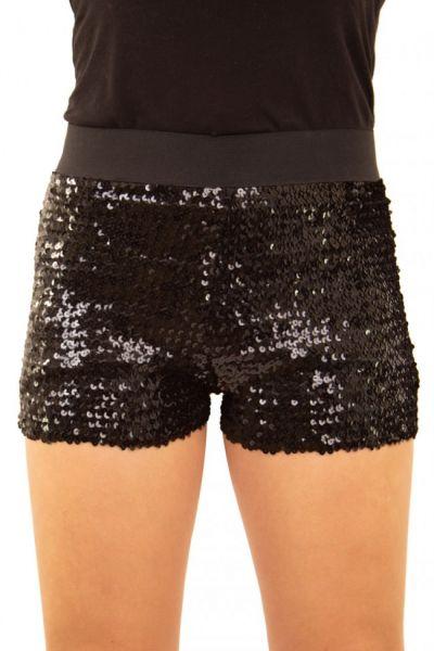 Hotpants mit Pailletten schwarz