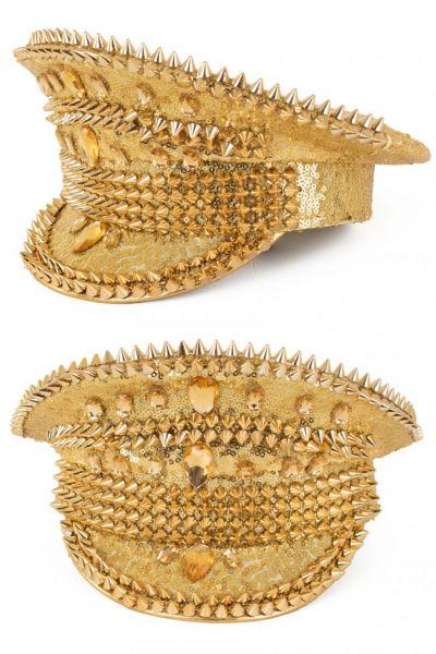Glänzende Bling Spikes Gold kappe