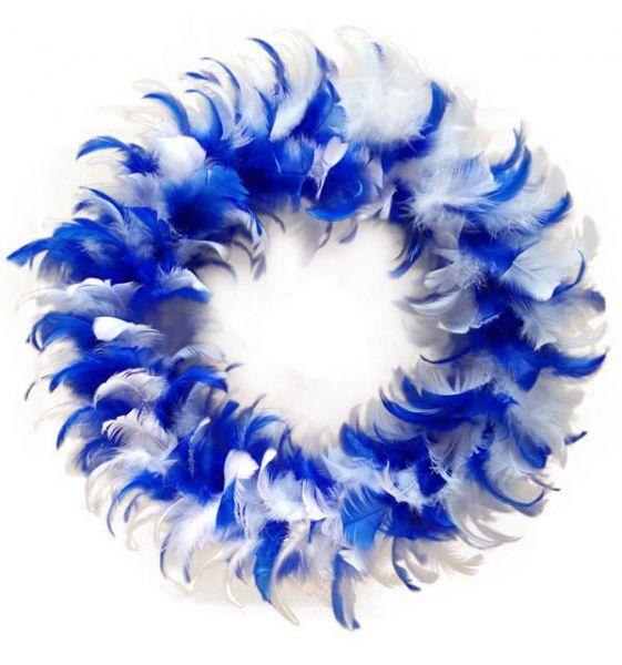 Kranz blau weiß aus Federn Partydekoration