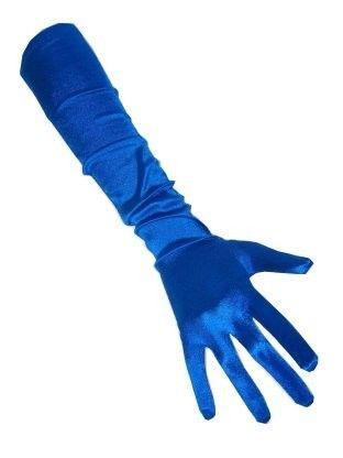 Blaue Satinhandschuhe