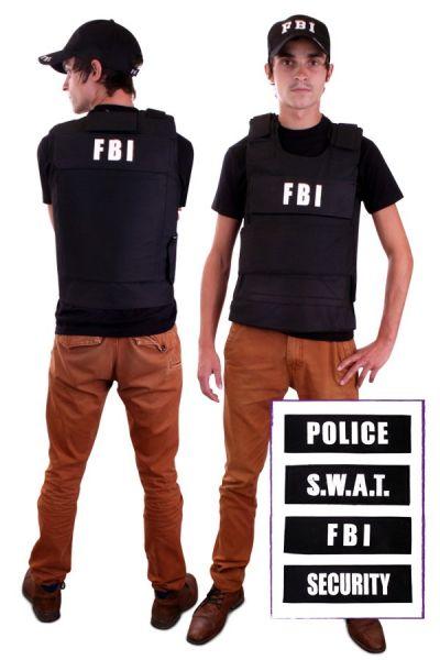 Kugelsichere Weste mit 4 Abzeichen (FBI, Security, Police, S.W.A.T.)