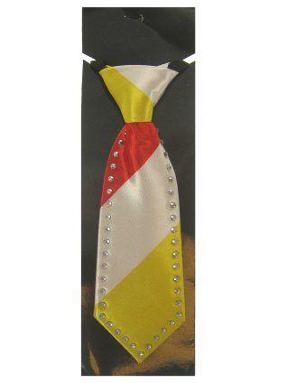 Mini Krawatte rot weiß gelb mit Strasssteinen