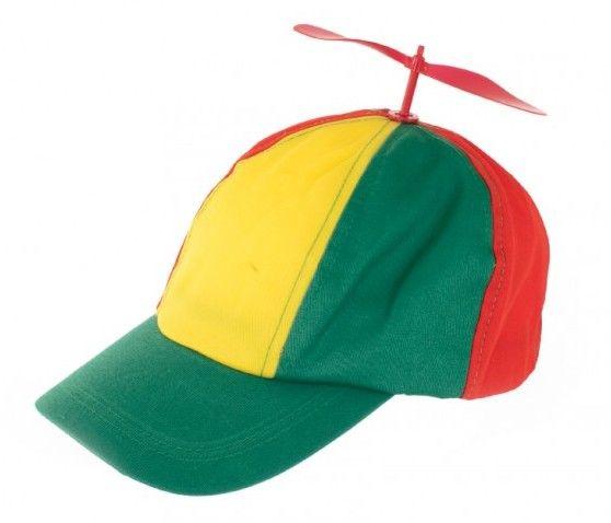 Mütze mit Propeller rot gelb grün Karneval