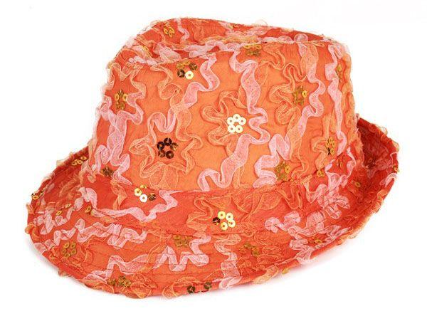 Gangster Hut mit Pailletten Rüschen Orange