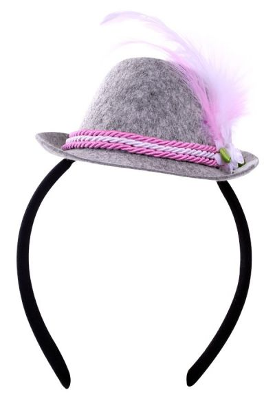 Oktoberfest Tiroler Mini Hut rosa auf Diadem