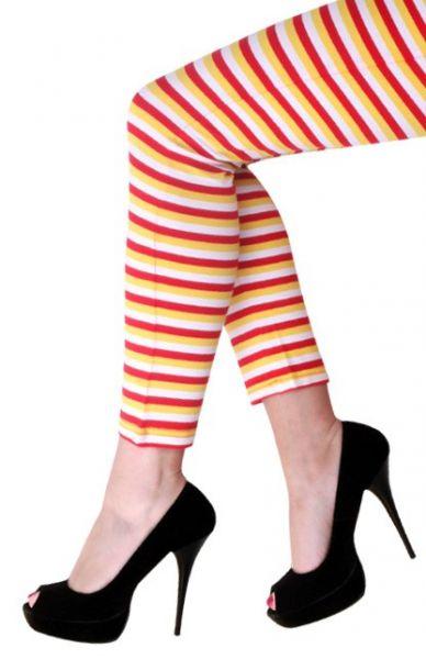 Legging rot weiß gelb gestreift
