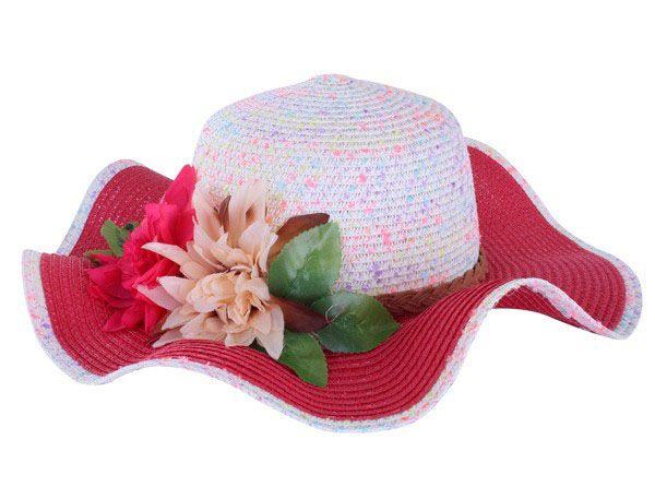 Strand Hut Rosa weiß mit Band und Blume