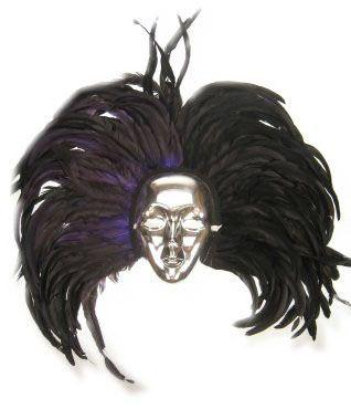 Maske Silber mit Kopfschmuck schwarzen Federn