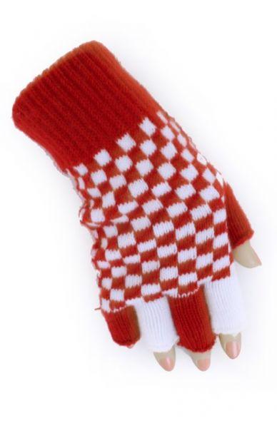 Fingerlose Handschuhe rot weiß kariert