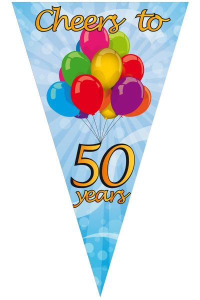MegMega puntvlag cheers to 50 years 90 x 150 cma Punkt Fahne cheers to 50 years 90 x 150 cm