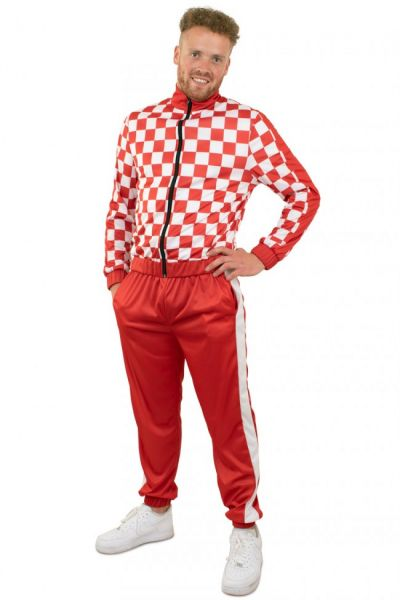 Trainingsanzug rot weiß kariert Kölle