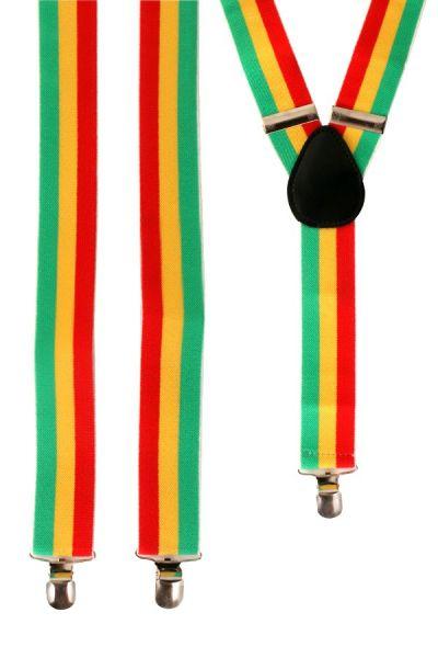 Faschings Hosenträger rot - gelb - grün