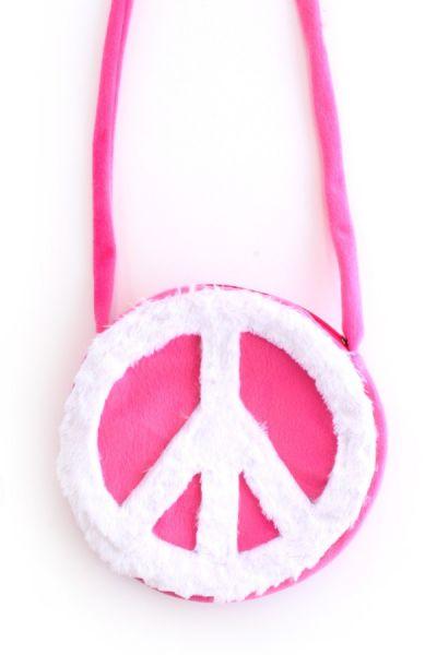 Schoudertas Hippie Peace roze met wit