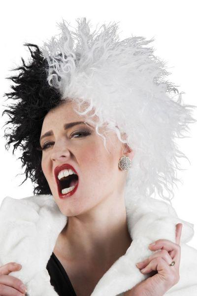 Rockstar Perücke halb schwarz weiß