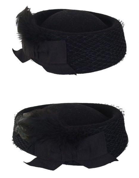 Damen Hut schwarz Wollfilz Schichtmodell mit Gaze und Bogen