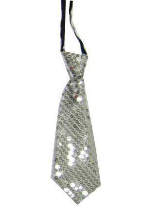 Kurze Krawatte mit silbernen Pailletten