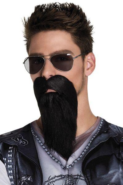Bart und Schnurrbart schwarz BIKER