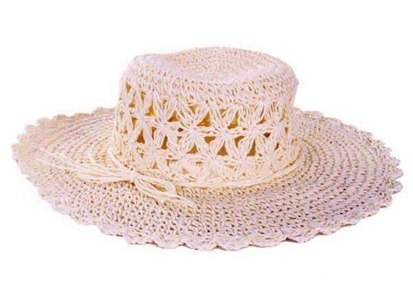 Weißer Damen Strohhut