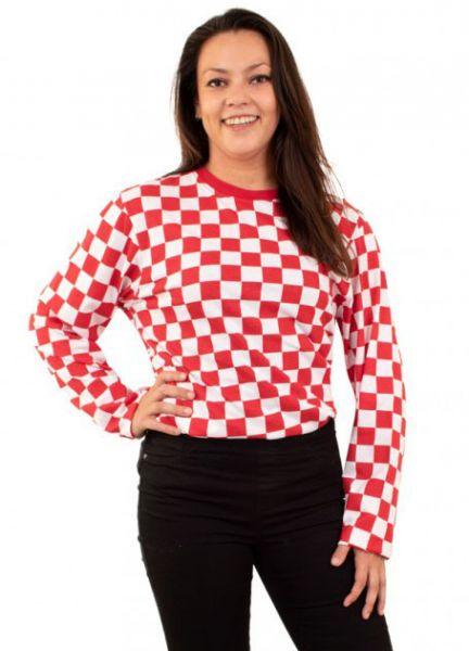Kölner Pullover rot weiß kariert lange Ärmel